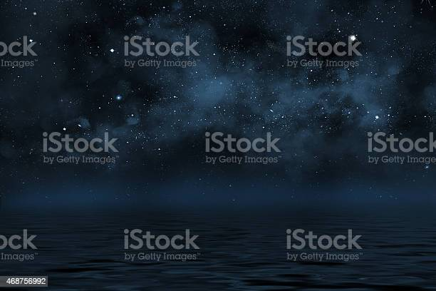 Photo of night sky with stars and blue nebula over water