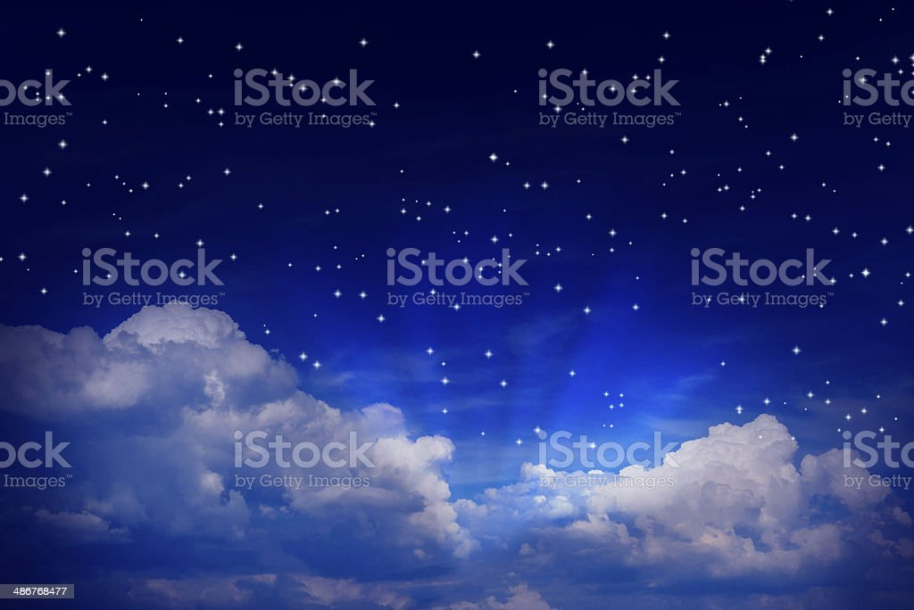 Night sky with stars and clouds stock photo
