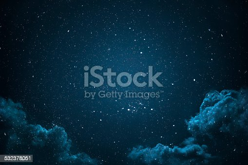 532378051 istock photo Night sky with stars and clouds. 532378051