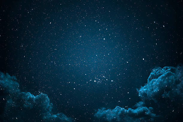 night sky with stars and clouds. - dark blue stock pictures, royalty-free photos & images