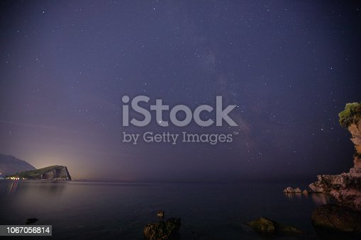 istock Night sky with stars and Milky Way above the sea 1067056814