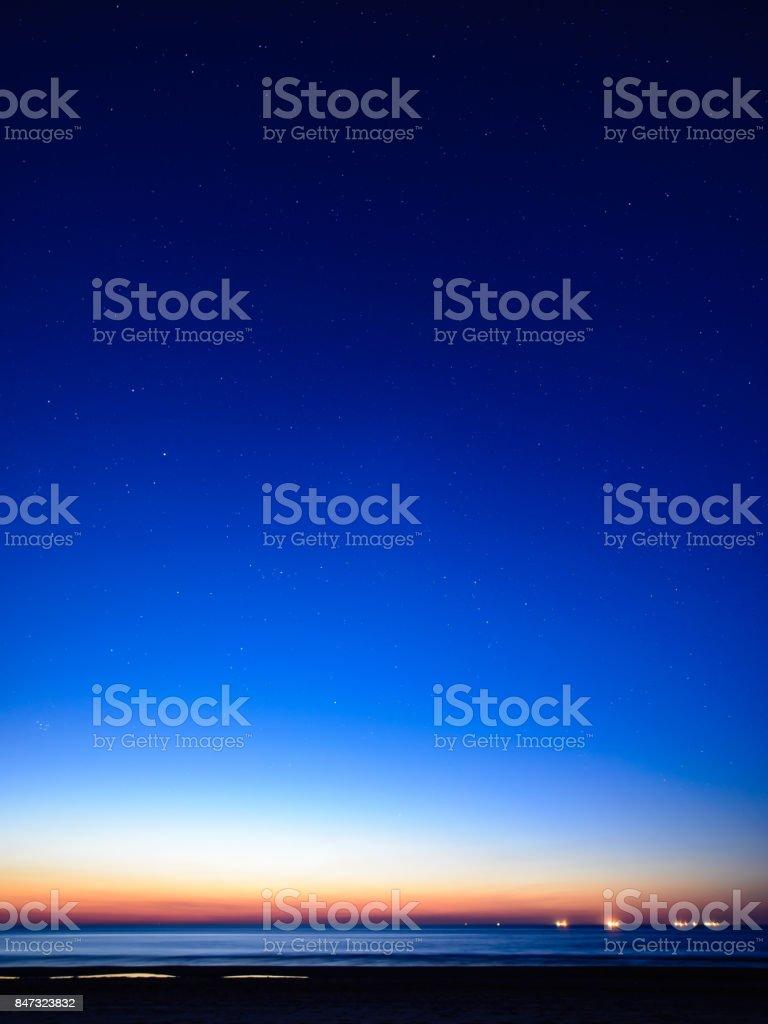 night sky with stars and milky way stock photo