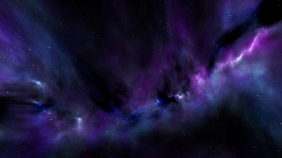 beautiful night sky with stars and nebula 3D illustration