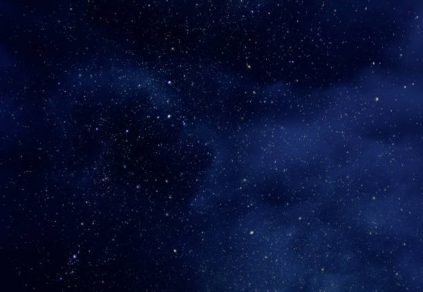 night sky with stars and soft milky way universe as background or texture - dark blue stock pictures, royalty-free photos & images