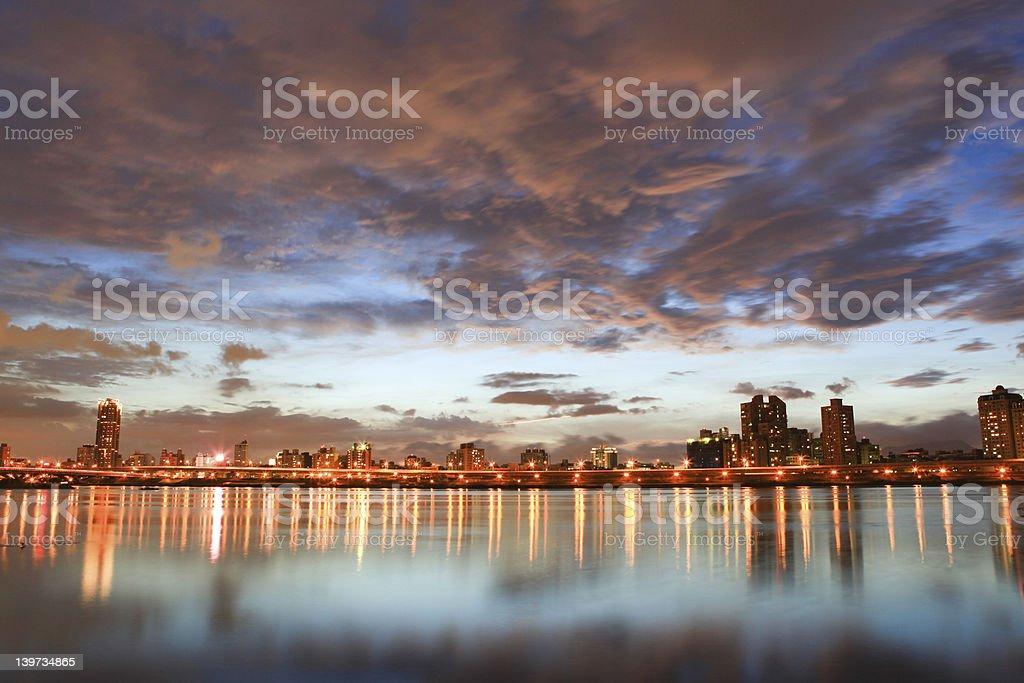 Night, Skyline at Taiwan Taipei royalty-free stock photo
