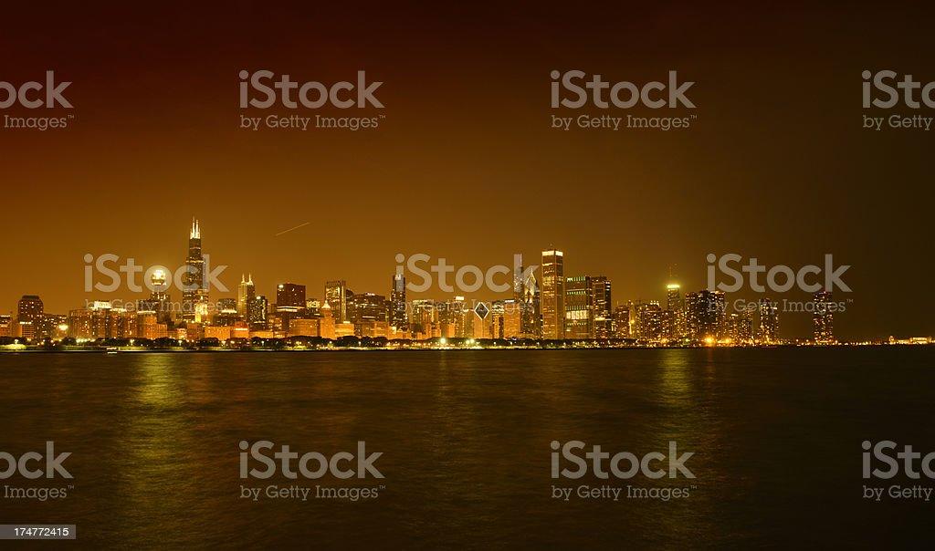 Night Skyline Chicago Downtown royalty-free stock photo