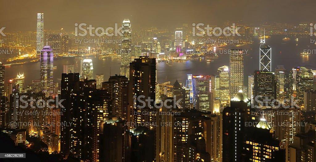 Night Skyline of Hong Kong royalty-free stock photo