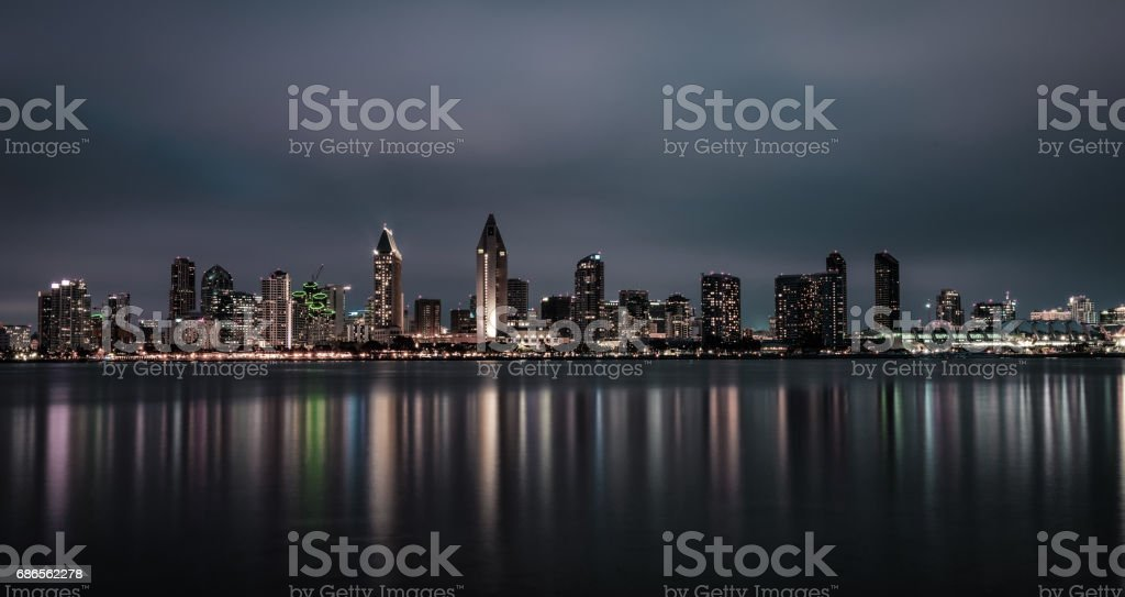 Night skyline of San Diego downtown, California royalty free stockfoto