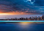 night skyline of seattle, WA, USA.