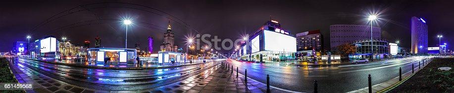 158172107 istock photo Night skyline of Warsaw 651459568