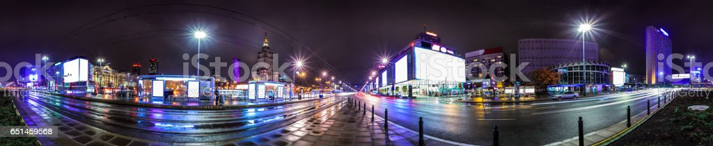 Night skyline of Warsaw stock photo