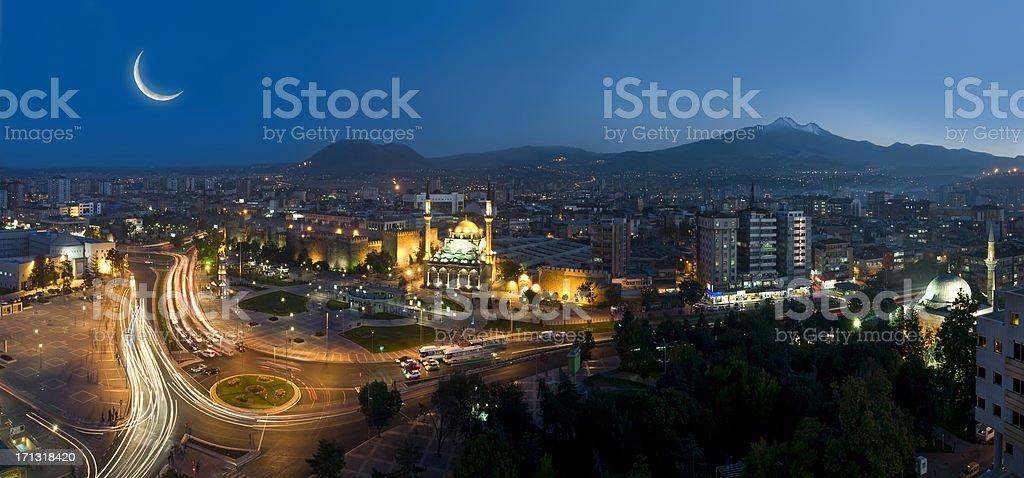 Night skyline view of Kayseri, Turkey stock photo