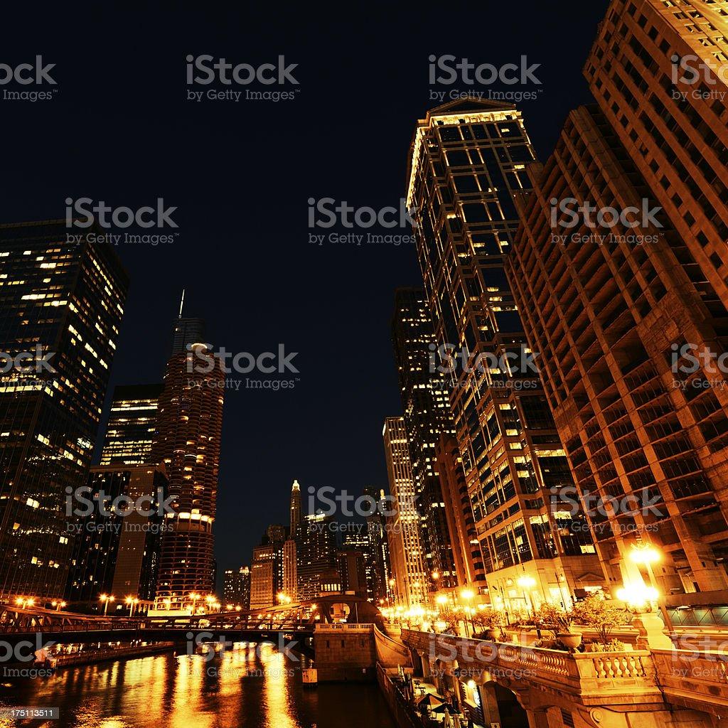 Night Skyline,Chicago royalty-free stock photo