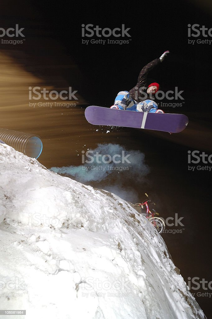 night snowboarding stock photo