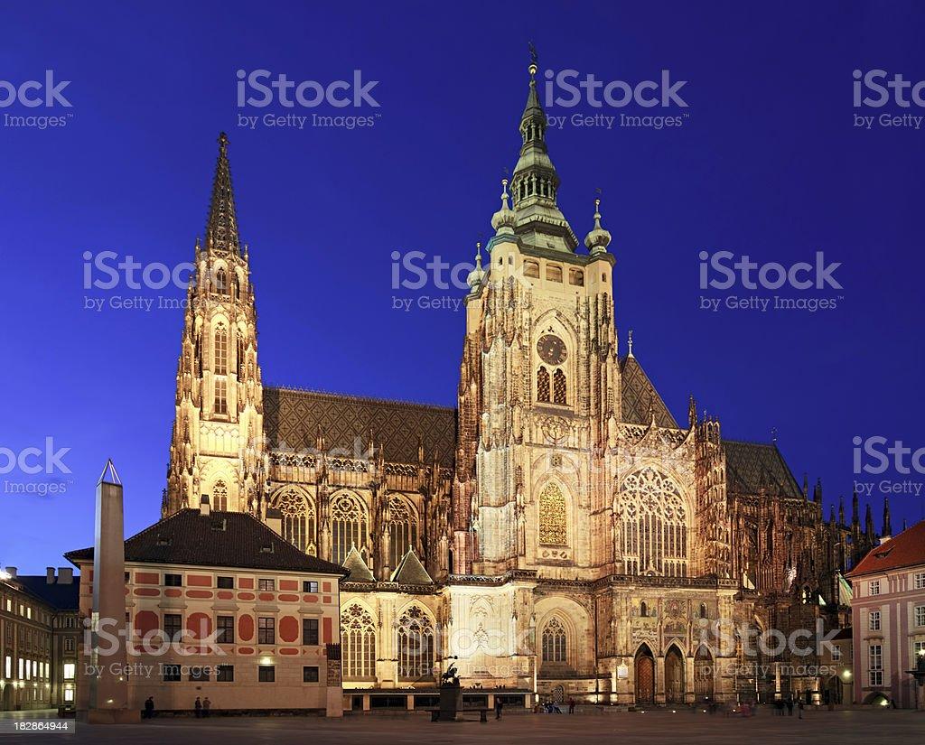 Night St. Vitus Cathedral, Prague stock photo