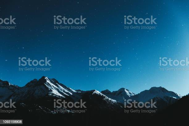 Photo of Night starry sky and Swiss Alps