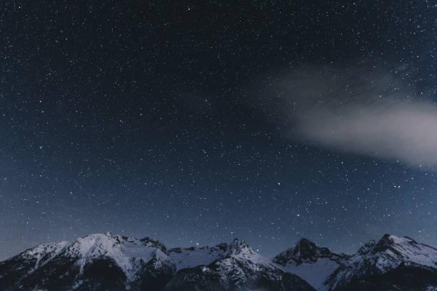 Night starry sky and Swiss Alps stock photo