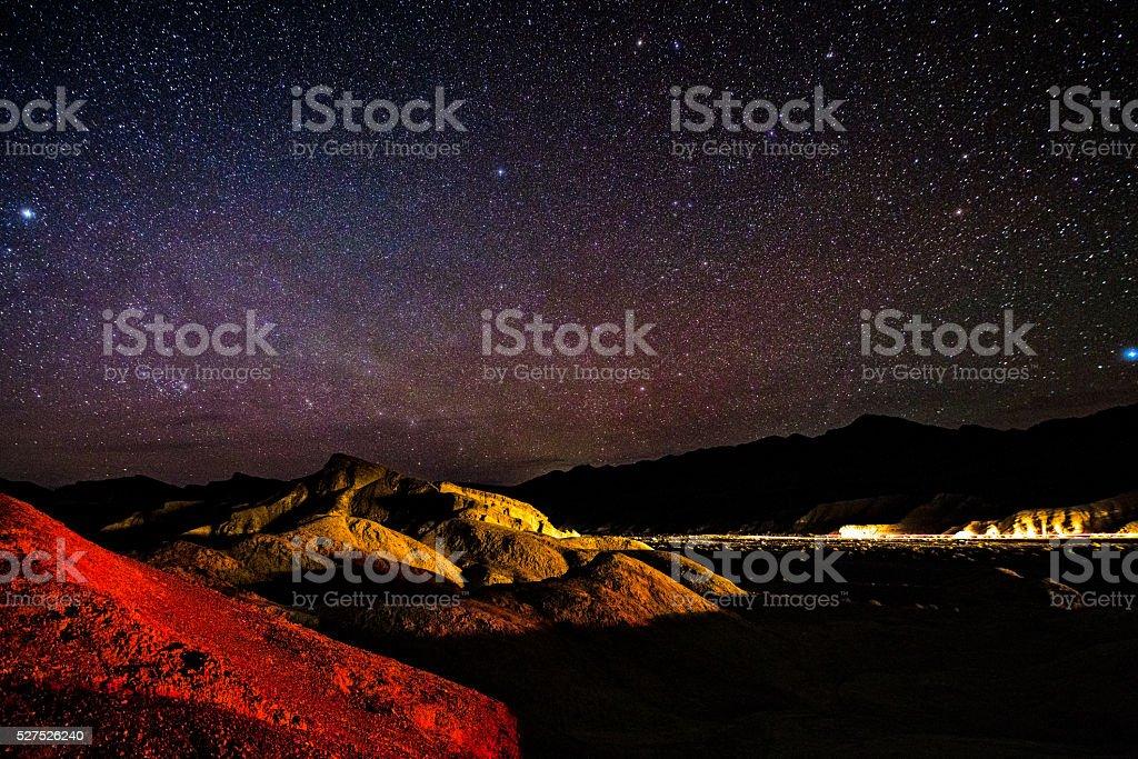 Night Stars at Zabriskie Point Death Valley stock photo