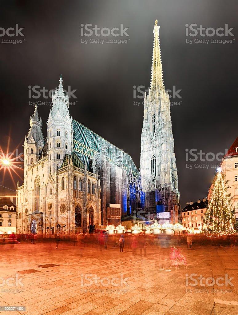 Night Stephansdom - St. Stephen's Cathedral, Vienna, Austria stock photo