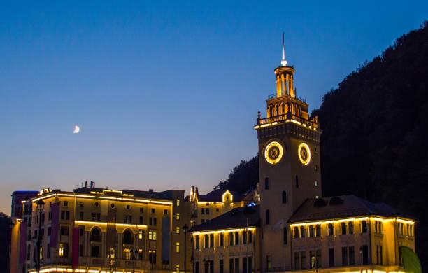 夜街の時計塔 - クラスノダール市 ストックフォトと画像