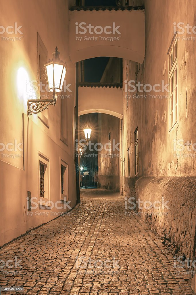 Night street in Mala Strana, Prague, Czechia stock photo