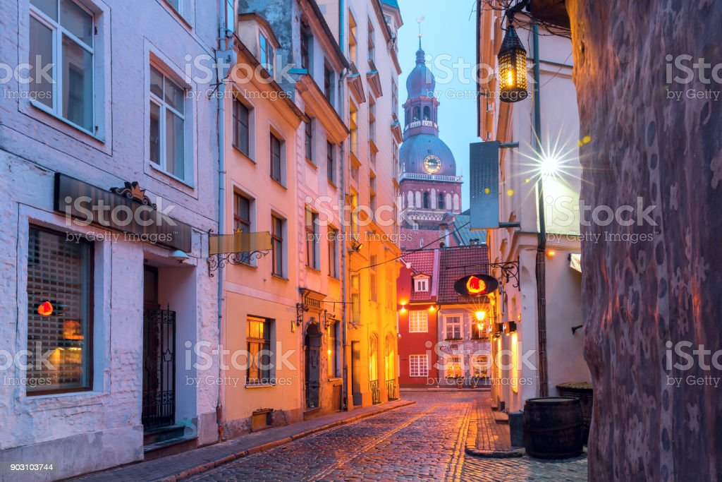 Night street in the Old Town of Riga, Latvia royalty-free stock photo