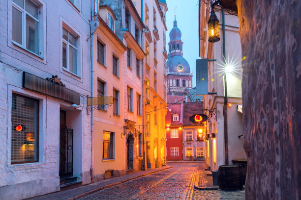 Night street in the Old Town of Riga, Latvia stock photo