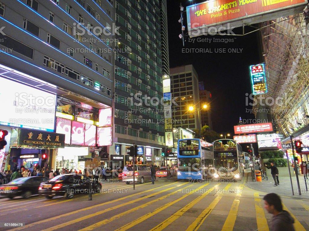Night street of Hong Kong photo libre de droits