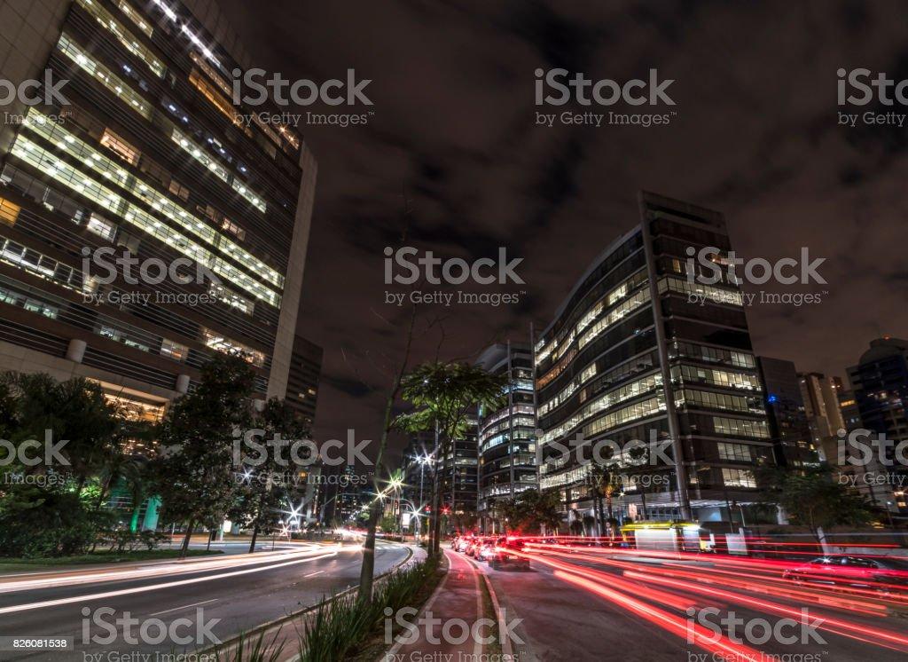 Night street view of São Paulo, Brazil stock photo