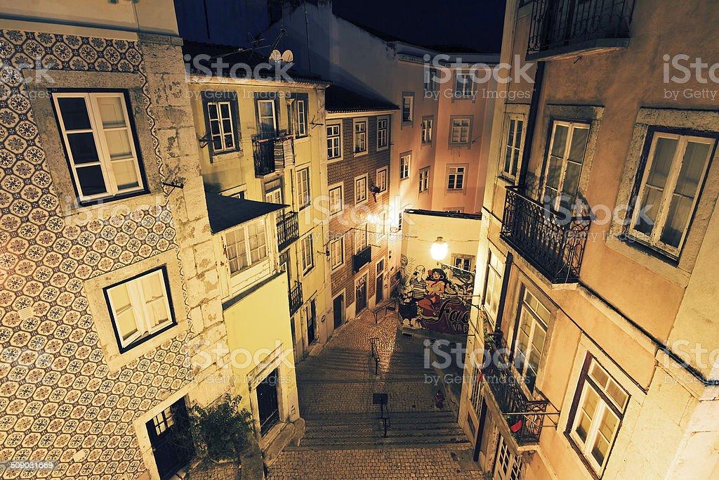 Night streets Lisbon stock photo