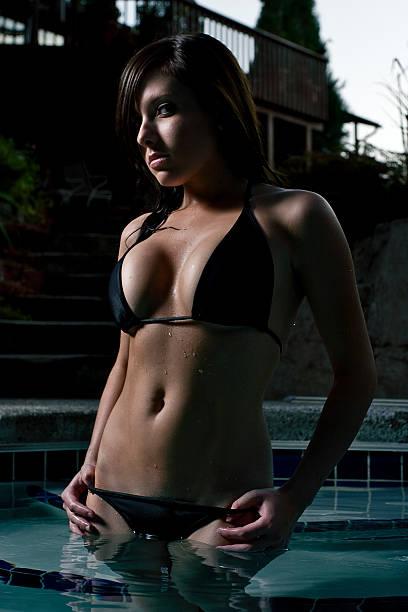 Night Swim in Bikini stock photo