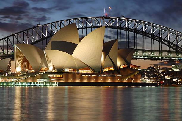 Night Sydney Opera House with Harbour Bridge at dusk stock photo