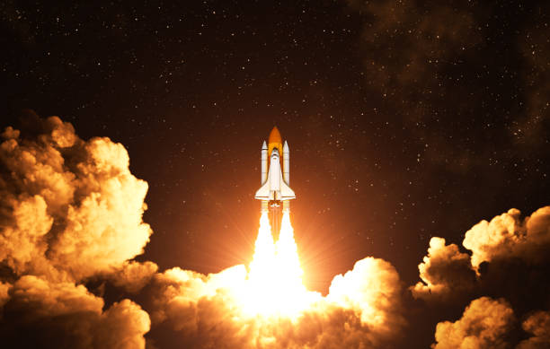 Night Takeoff Of The American Space Shuttle Night Takeoff Of The American Space Shuttle. 3D Illustration. outer space stock pictures, royalty-free photos & images