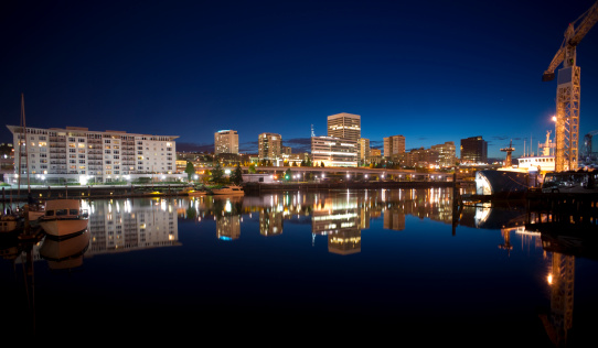 Night Thea Foss Waterway Downtown Tacoma Waterfront Skyline Working Harbor Stock Photo - Download Image Now