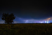 Night thunderstorm landscape with lightning on horizon.
