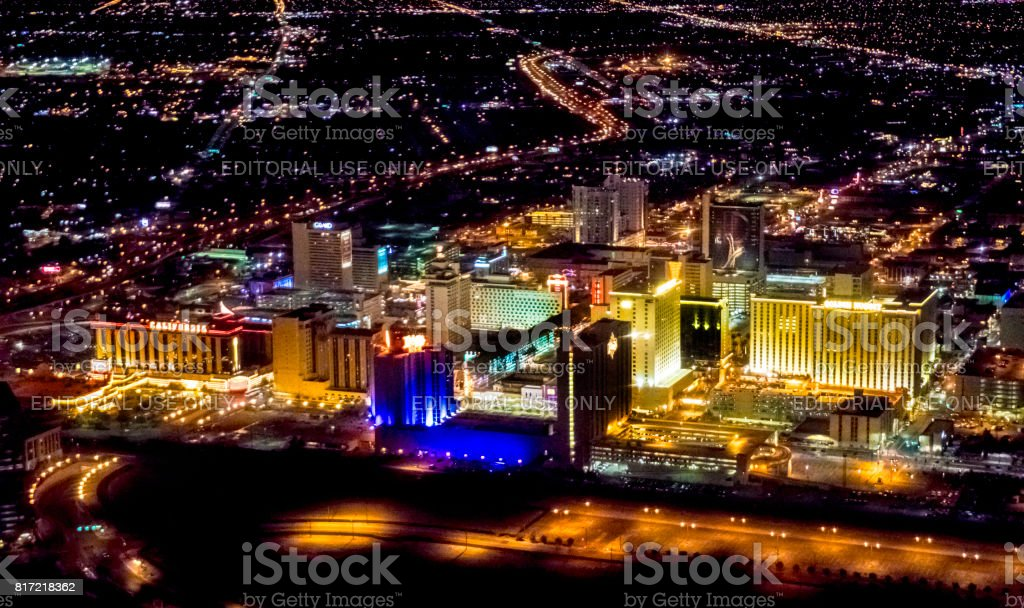Night time aerial Las Vegas from helicopter stock photo