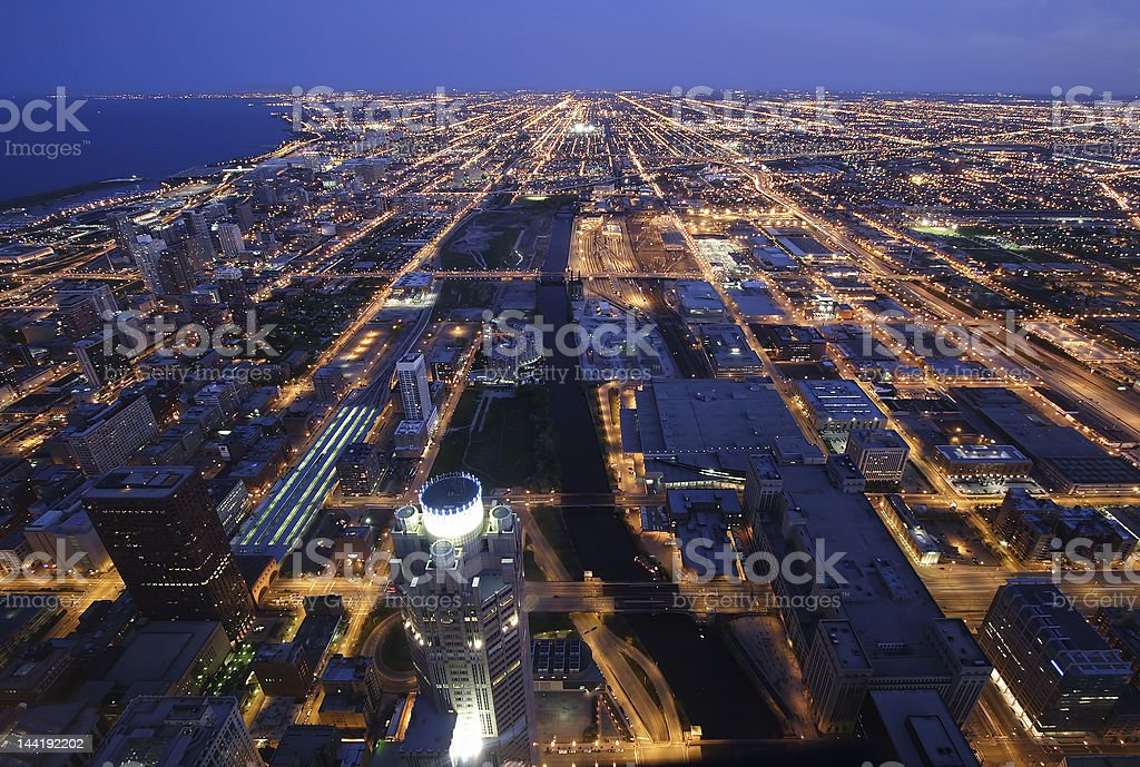 Night time aerial view of Chicago royalty-free stock photo