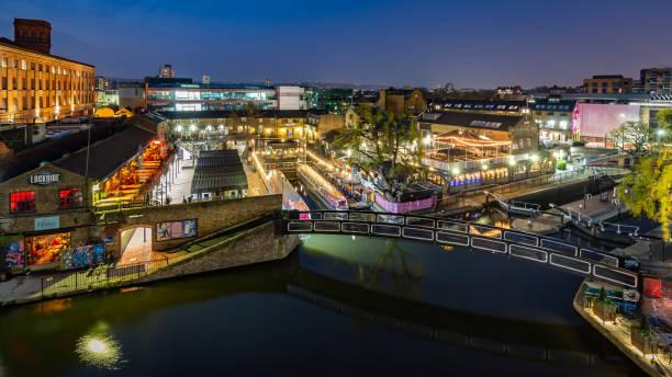Night time ariel view over Camden Lock, London stock photo
