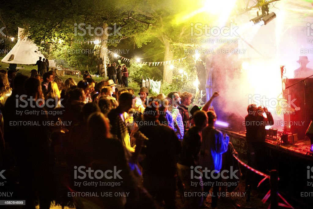 Night time at a live music event stock photo