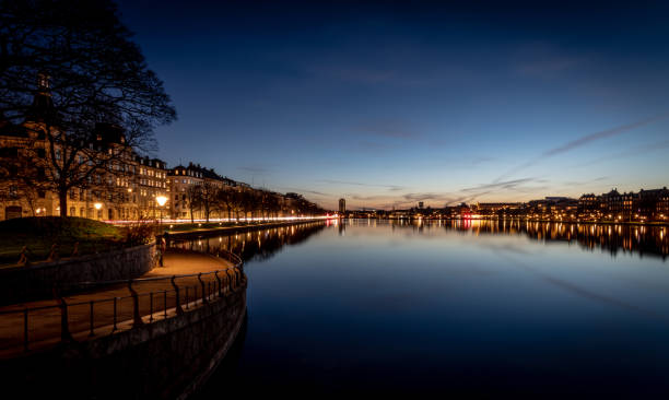 Night time by the water at Sortedams So in Copenhagen, Denmark stock photo