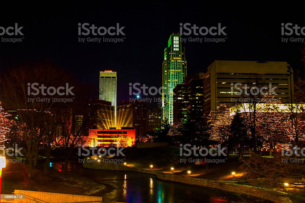 Night Time Christmas in Omaha stock photo