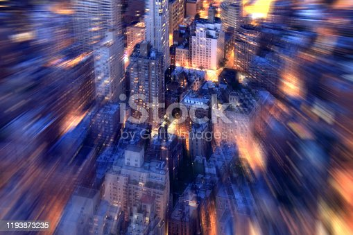 516768600 istock photo night time cityscape of Manhattan aerial view 1193873235