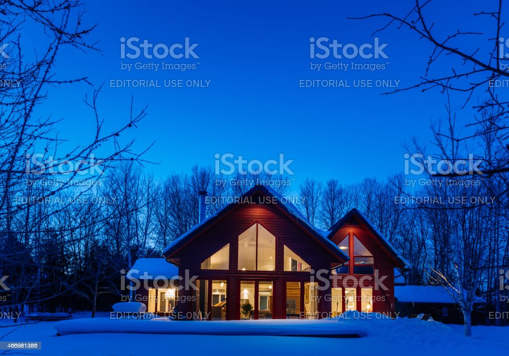 Night time Cottage Exterior stock photo