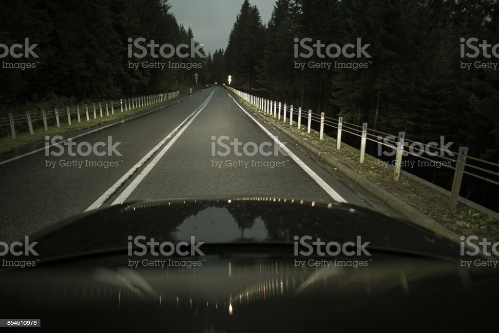 Night Time Highway Driving stock photo