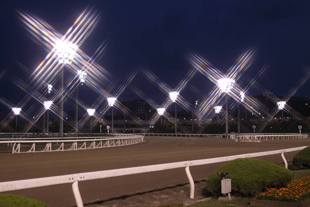 Night time horse track on a clear night Horse racing track at night. sha tin stock pictures, royalty-free photos & images