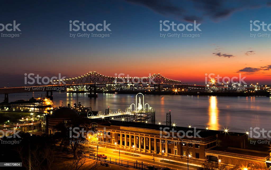Night time in Baton Rouge, LA stock photo