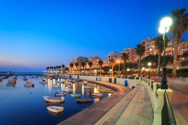 Night time in St Paul's Bay, Malta stock photo
