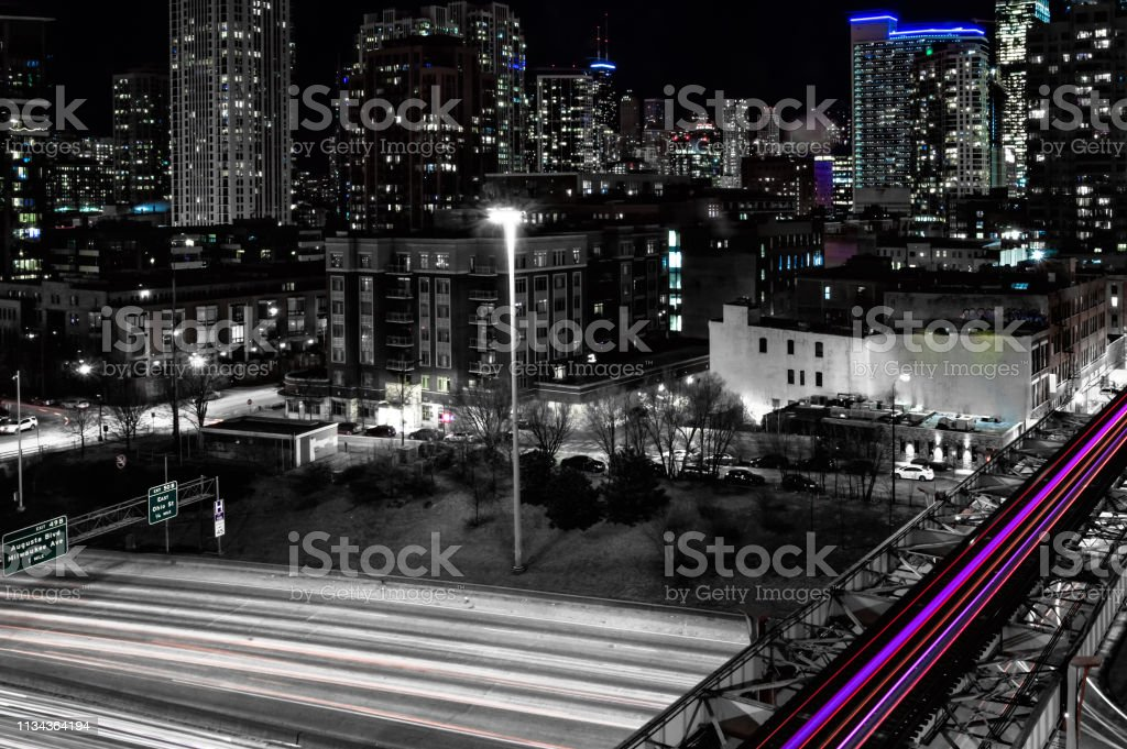 Night time in the West Loop at Interstate 90 and Lake Street. Urban...