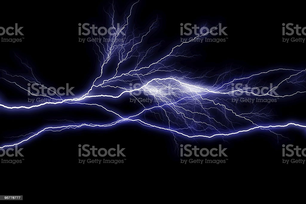 Night time lightning strikes across sky stock photo