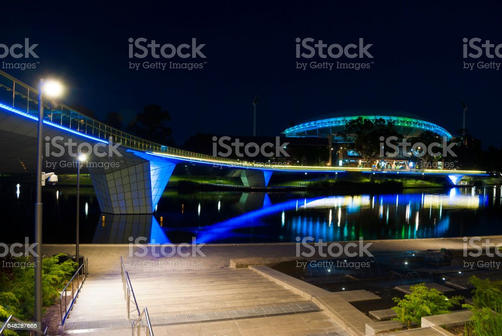 Night Time Lights on Adelaide Oval and the Foot Bridge stock photo